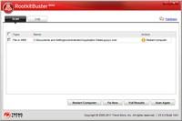 Rootkit Buster pašalina grėsmę, reikalingas                   kompiuterio perkrovimas
