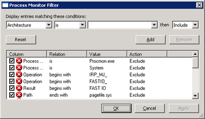 Process           Monitor filter