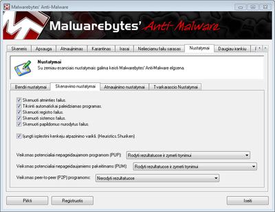 Malware bytes           nustatymai