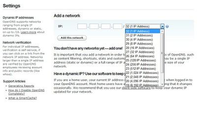 Galimybė įtraukti vienos kompiuterio IP adresą arba atitinkamo dydžio kompiuterių tinklą į OpenDNS paskyrą.