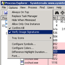 Process Explorer sertifikatų tikrinimas